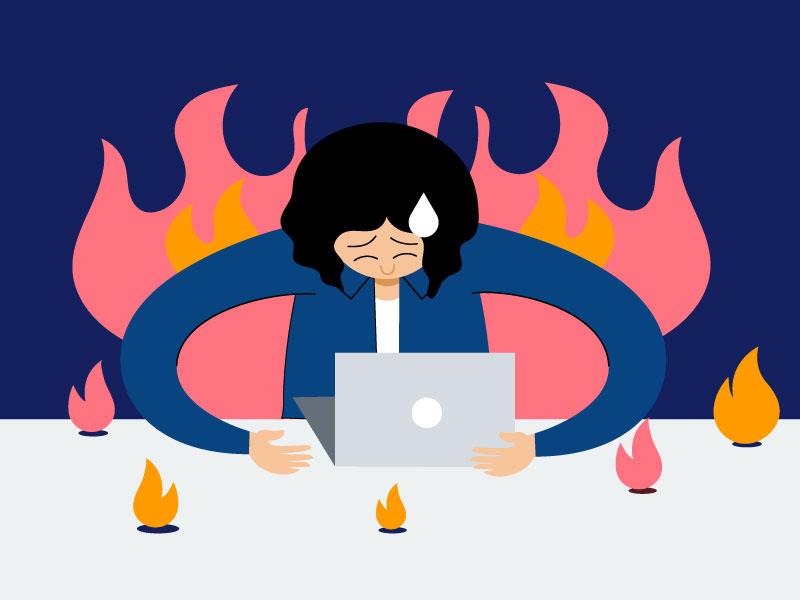 Avoid Burnout work fire burnout workload asana line character vector illustration