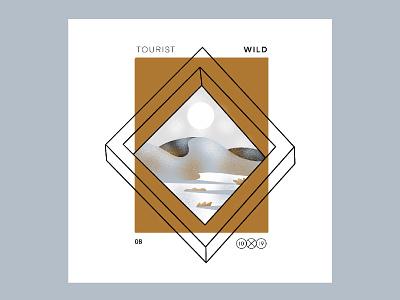 10X19 | 8. Tourist, WIld texture landscape sunset procreate ipadpro album cover album art tourist illustration
