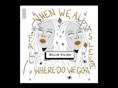 10x19 | Billie Eilish, When we all fall asleep where do we go? creepy procreate ipadpro billie eilish music album art album cover 10x19