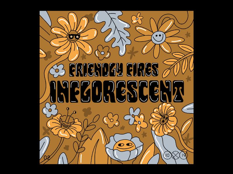 10x19 | 2. Friendly Fires, Inflorescent friendly fires disco flowers procreate ipadpro album art album cover 10x19 design illustration