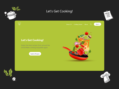 Cooking cooking web design landing page uxreserch ux design ui design