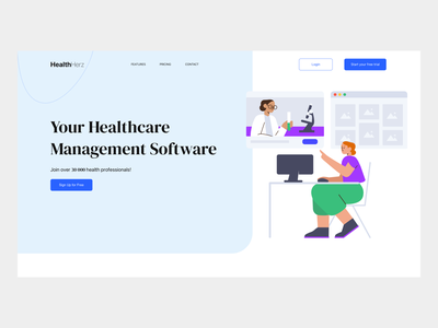 HealthHerz - Medical Landing Page illustration landing page ui health clean medicine medical clinic ux ui landing page