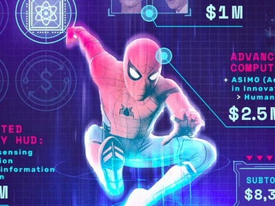 How Much Would a Real-Life Spider-Man Super-Suit Cost? digital art fandom infographic comic books graphic design photomanipulation tom holland editorial design peter parker marvel comics marvel mcu spider-man spiderman superhero