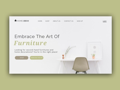 Home Deco Web App app minimal typography design web