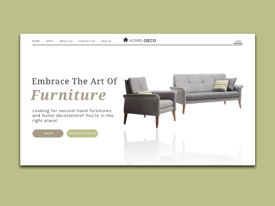 Home Deco version 3 app ecommerce typography minimal web design