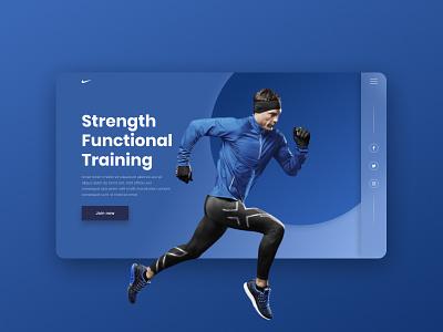 Concept of promo screen for Nike train training functional running runner run nike sport figma branding website web ux ui pinterest figmauxuiwebdesigndribbledesign design