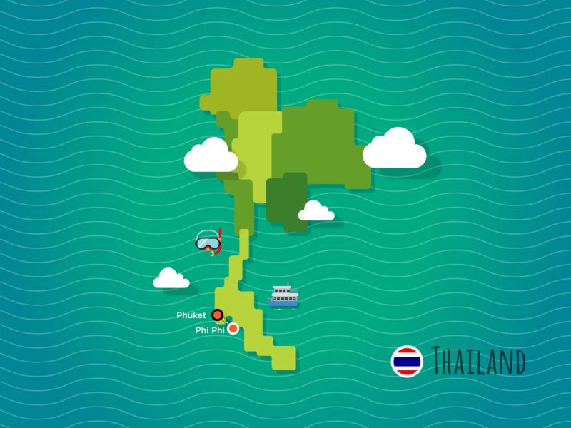 Thailand Map speedboat snorkelling tourism trip thailand travel map