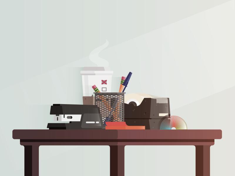 The Grind desk coffee pencil slinky stapler flat illustration