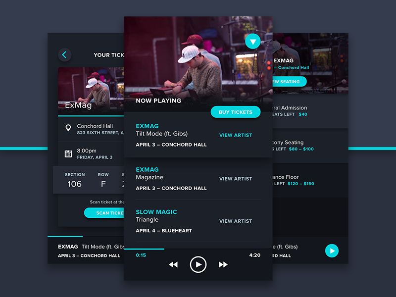 LiveList dark ui ticket ticketing concert music web iphone ios app screen