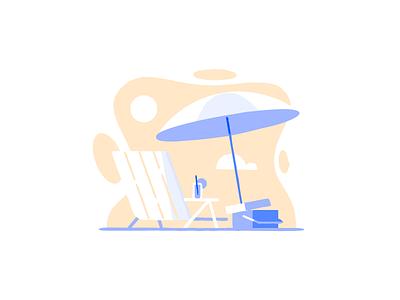 Somewhere Wonderful chair cooler umbrella sand beach illustration modal community digitalocean