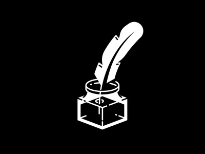Ink Quill negative black and white illustration mark icon pen quill ink
