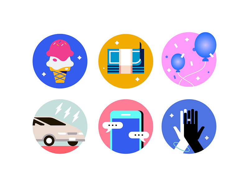 Color Explorations ice cream balloons money high five phone car color exploration icons