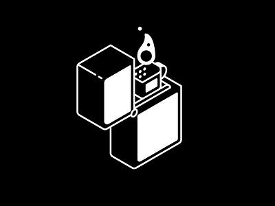 Mondays are Lit fire zippo isometric illustration white black monday lit lighter