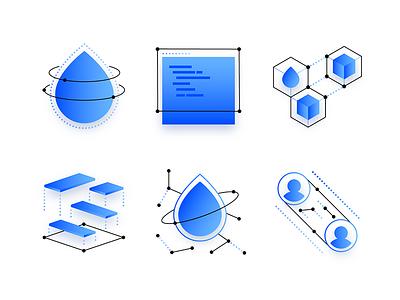 Icon Explorations networking storage api droplet explorations illustration icon digitalocean