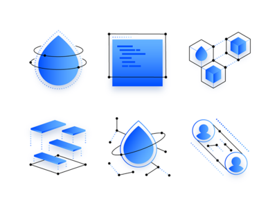 Icon Explorations networking storage api droplet explorations illustration icon digitalocean