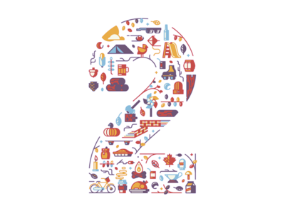 2 fall icons two number letter 2 typefight