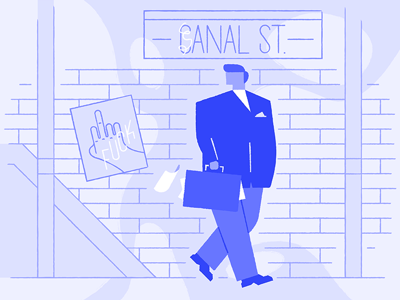 Bittersweet bittersweet blue flat illustration businessman subway new york city canal street nyc