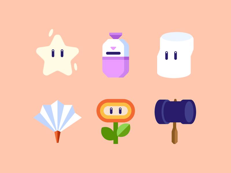 Super Smash Bros. minimal icons mario gaming items smash super smash bros