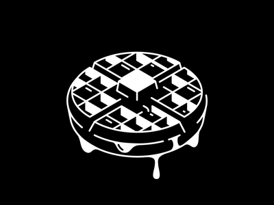Drooling breakfast flat minimal black and white syrup waffle drooling vectober inktober