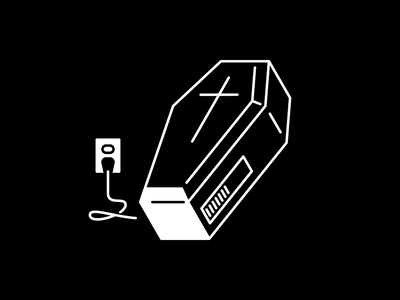 Exhausted illustration black and white minimal bye brb charging vectober inktober exhausted dead coffin