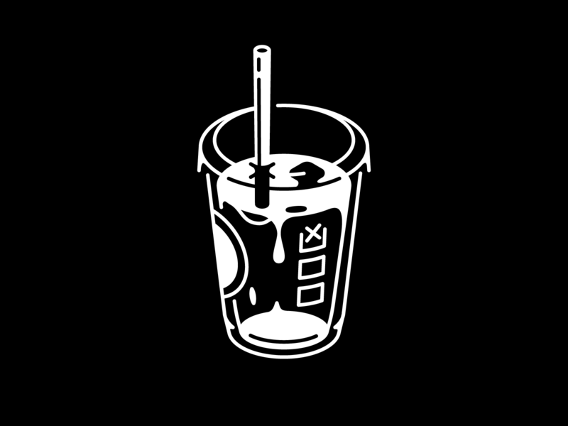 Star (bucks) eatsleepvector one color black and white cup caffeine monday coffee vectober inktober starbucks iced coffee