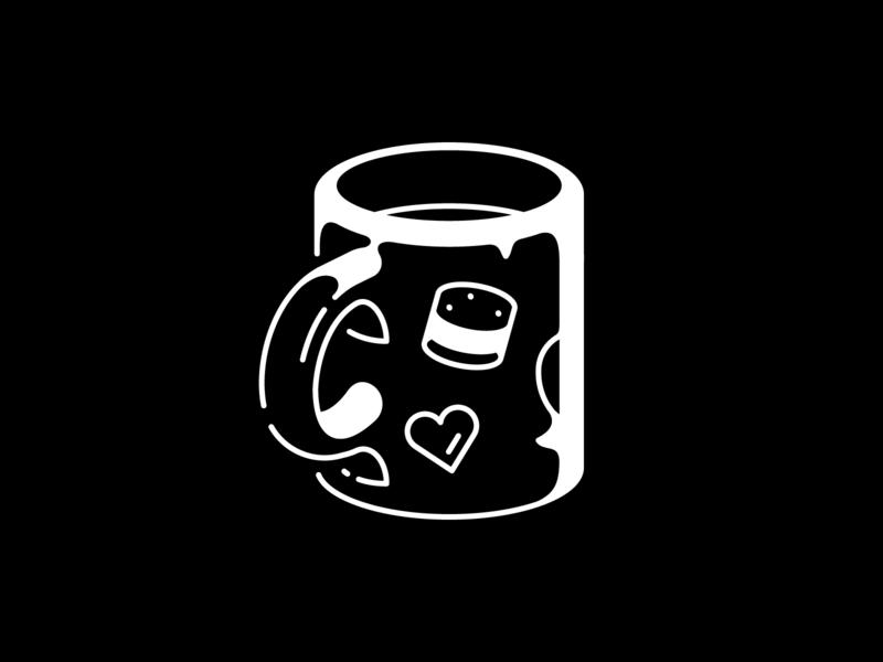 Precious illustration vectober honeybun vector minimal black and white cup mug inktober
