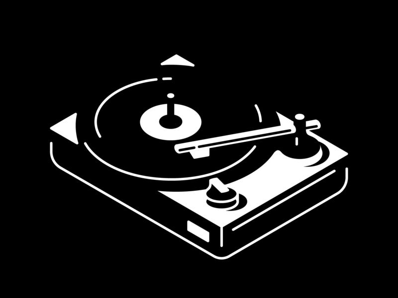 Flowing eatsleepvector black and white vinyl illustration music turntable vectober inktober