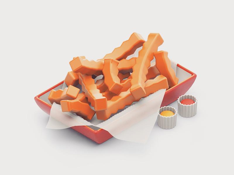 Crinkle Cut mustard ketchup 3d food junk food crinkle cut fries cinema 4d