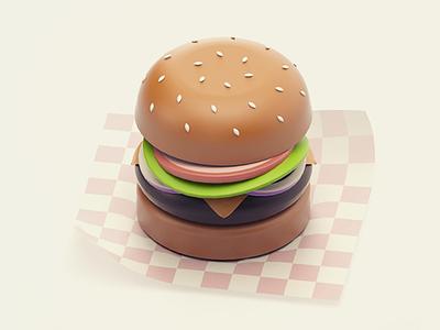 Cheeseburger diet carbs junk fast food minimal cheeseburger burger cinema 4d render 3d