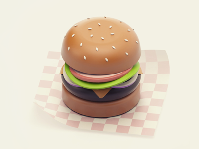 Cheeseburger diet carbs junk fast food minimal cheeseburger burger cinema 4d render 3d