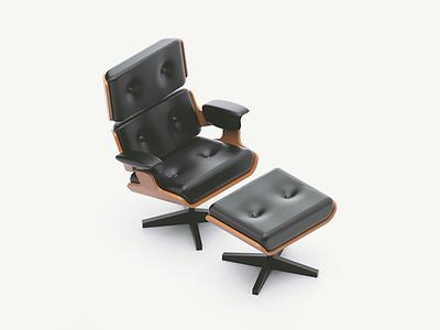 Chair & Ottoman eatsleepvector render naptime living room 3d model furniture chair eames