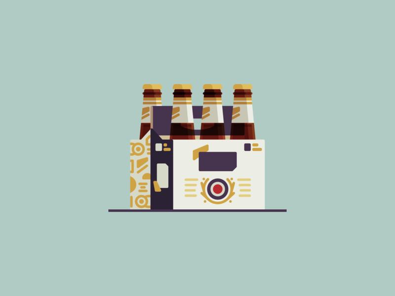 Miller Lite six pack brewskies eatsleepvector minimal beer flat illustration
