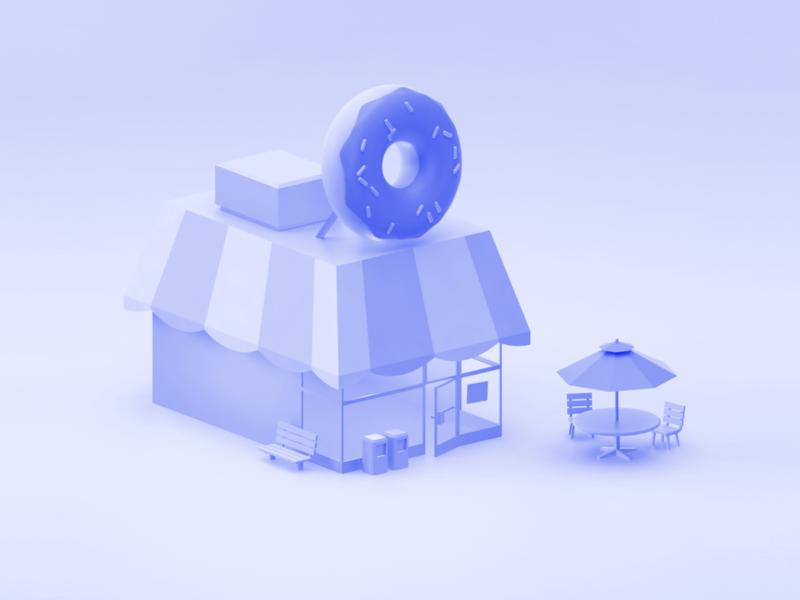 The Big Donut store shop donut 3d model blue 3dfordesigners steven universe wip