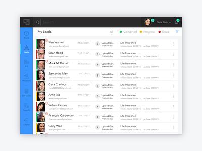 Leads List minimal interface ui list clean ipad app ipad leads listings