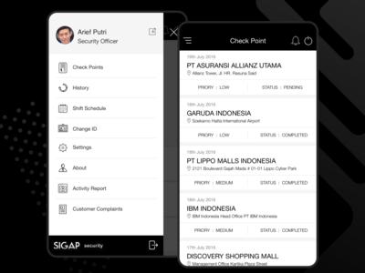 Security app list and menu