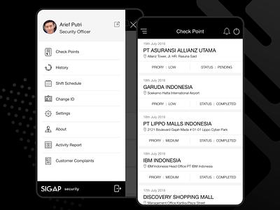 Security app list and menu security app ui flat interface minimal clean