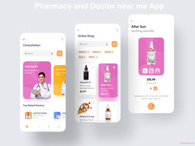 Pharmacy and Doctor near me App photoshop swift mobileappdevelopment laravel php native app react native ionic javascript java ui ux appdesign android app ios app doctor appointment doctor app delivery app medical app