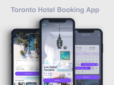 Toronto Hotel Booking App webdevelopment ui  ux photoshop laravel php swift android app javascript java ios app