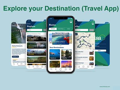 Explore your Destination - Travel App react native ionic framework photoshop javascript laravel webdevelopment java android app ios app travel planner travel app