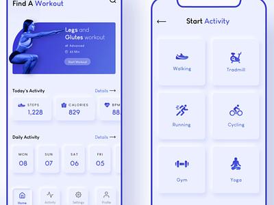 Health & Fitness App mobileappdevelopment php ui  ux photoshop javascript webdevelopment java swift android app ios app fitness app health app