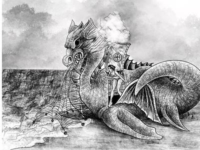 illustration animalpotrait lineart sketchart design digital painting painting black white storybook sketch drawing illustration