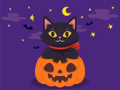 Spooky Night flat minimal vector black friday helloween spooky designinspiration design behance illustrator illustration graphic design