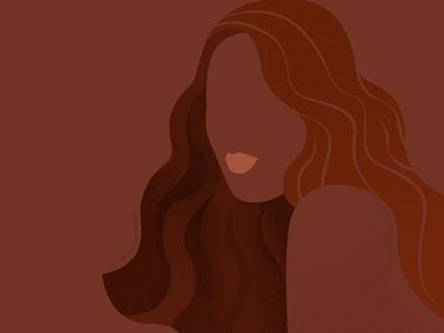 Brown GIrl wavy hair girl women colored women colored brown design vector branding modern digital art modern illustration flat illustration illustration