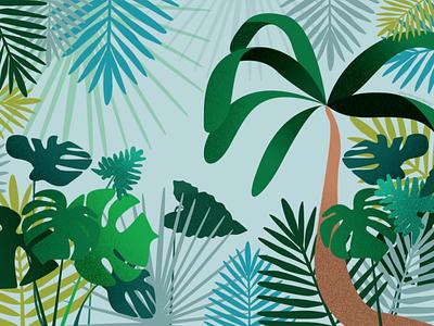 A tropical view grain textures modern illustration digital art tropical leaves palm trees paradise lush summer leaves illustration tropical