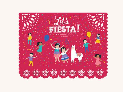 Lili's First Fiesta invites mexican art mexican fiesta fiesta flat illustration flat mexican party birthday event digital art illustration modern illustration modern kit kids illustration kids party