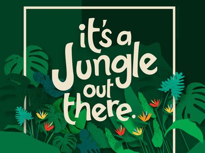 It's a Jungle out there. illustration graphics flat illustration modern illustration digital art flat nature trees leaves jungle tropical leaves
