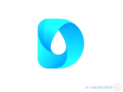 D water drop monogram smooth blue abstract lettermark minimalist iillustration creative concept clean drop down monogram modern logo logo
