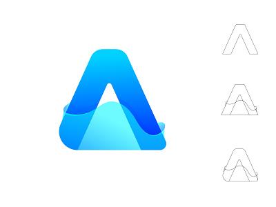 A and water  effect  concept modern branding identity water abstract aquarium aqua best blue concept creative monogram best logo logodesign logo mark logo