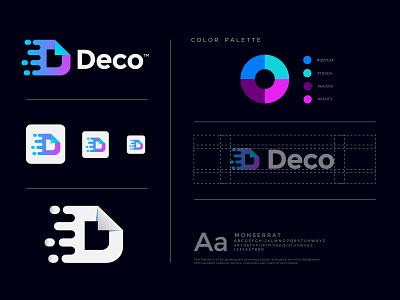 Deco online shop logo concept branding best designer logos logo designer modren logo trend 2021 abstract logo mark mark modren creative concept icon app delivery transport shop online logodesign logo
