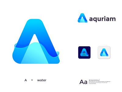 aquriam logo design branding brand identity logo mark abstract best shot best designer best logo creative concept water drop modren logo modern trend 2021 monogram logo aquarium aqua fish water logodesign logo